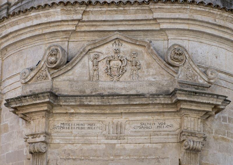 Zbliżenie widok architraw nad dzwi wejściowy kościół Purgatory, Matera obrazy royalty free