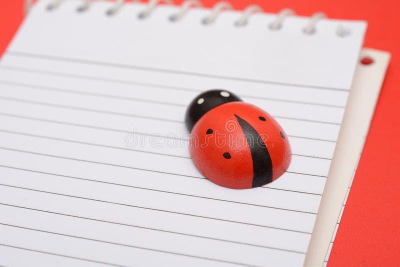 Zbliżenie widok Ladybird na szkolnym notatniku zdjęcia stock