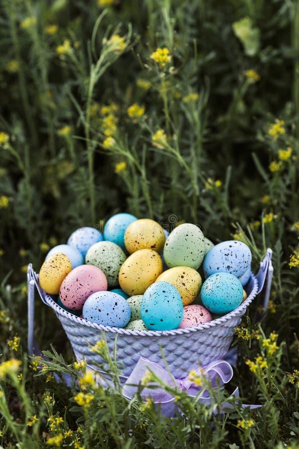 Zbliżenie wiosen Wielkanocni jajka zbierający w purpurowym wiadrze, tradycyjna dekoracja zdjęcia royalty free