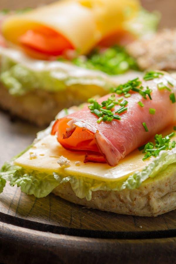 Zbliżenie wiosny Świeża kanapka z baleronem i serem obraz stock