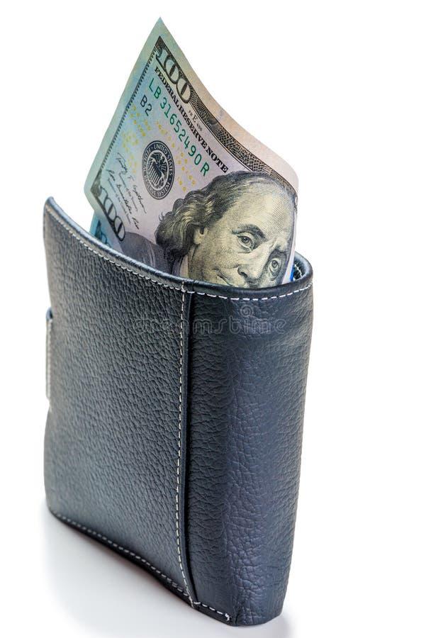 zbli?enie czarny portfel pe?no 100 dolarowych rachunk?w odizolowywaj?cych na bielu zdjęcia royalty free