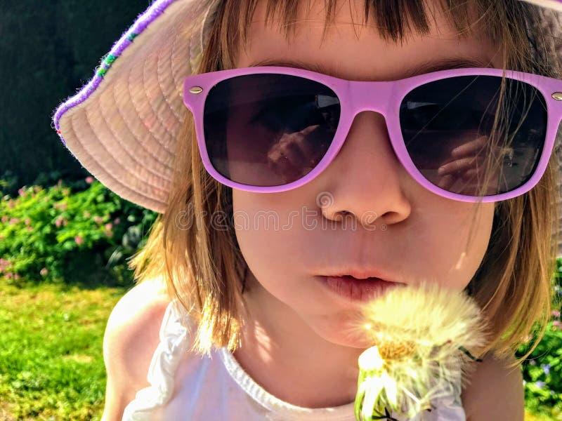 Zbli?enie ?liczny 5 roczniaka dziewczyny mienie i dmuchanie na dandelion w ogr?dzie Jest ubranym jednoro?ec koszula fotografia royalty free