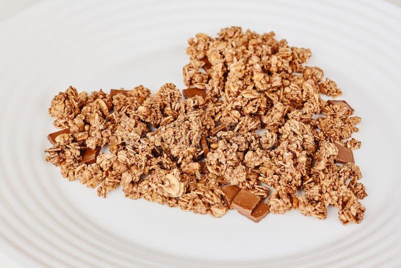 Zboża Muesli śniadanie na białym tle Zdrowy łasowania i stylu życia pojęcie zdjęcie royalty free