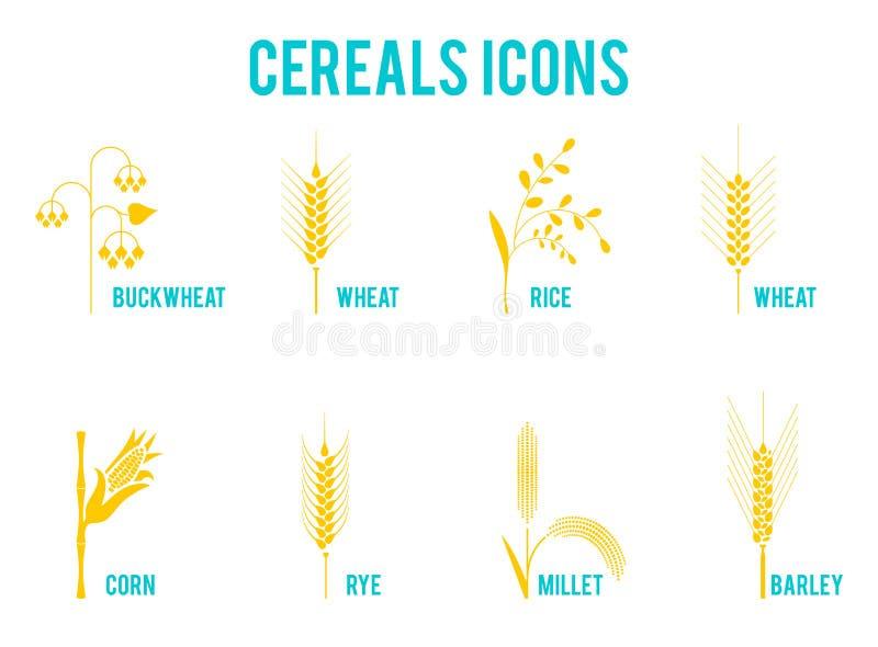 Zboże ikony zbożowe rośliny royalty ilustracja