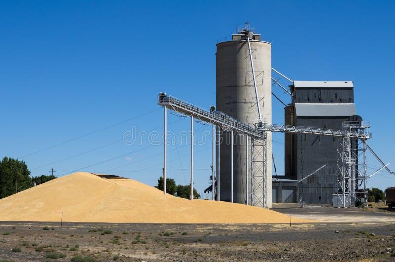 Zbożowa winda z stosem adra zdjęcia stock