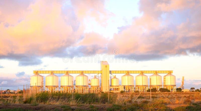 Zbożowi silosy w Zewnętrznym schronieniu, Południowy Australia przy świtem, zdjęcie royalty free