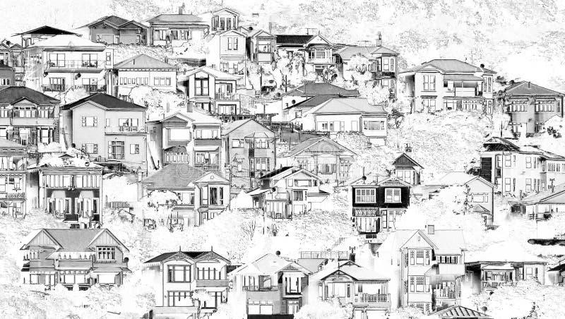 Zbocze domów własność w czarny i biały ilustracja wektor