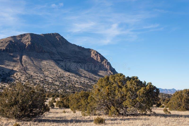 Zbocze góry i równina w wiejski Nowym - Mexico zimy pustynia, Amerykański południowy zachód zdjęcia stock