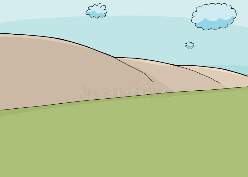 Zbocze scena i Ładny niebo ilustracji