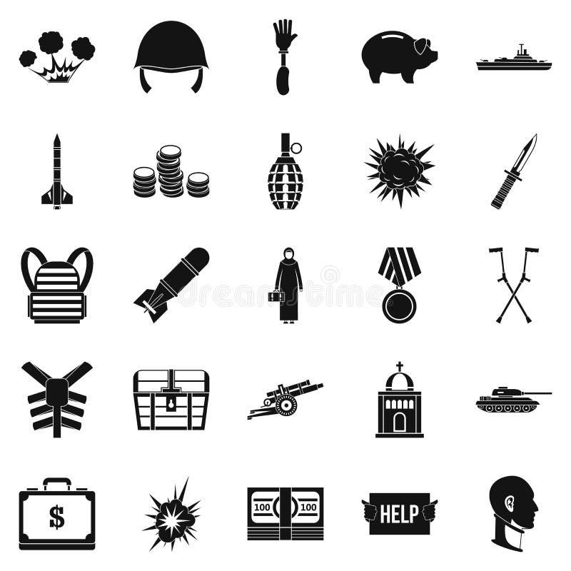Zbrodni wojennych ikony ustawiać, prosty styl royalty ilustracja