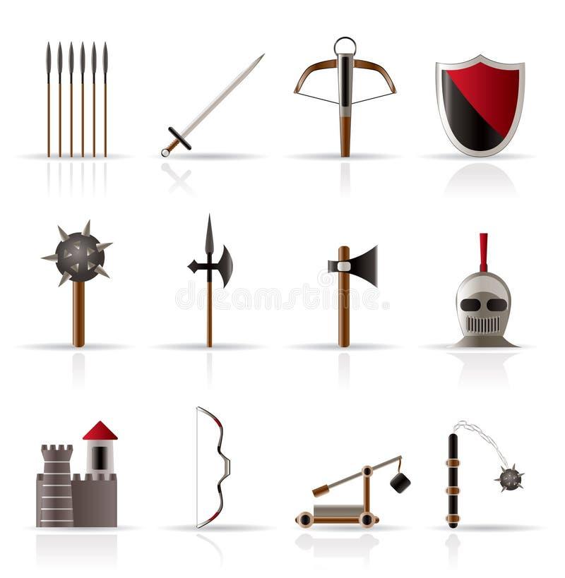 zbroi średniowiecznych ikona przedmioty ilustracja wektor