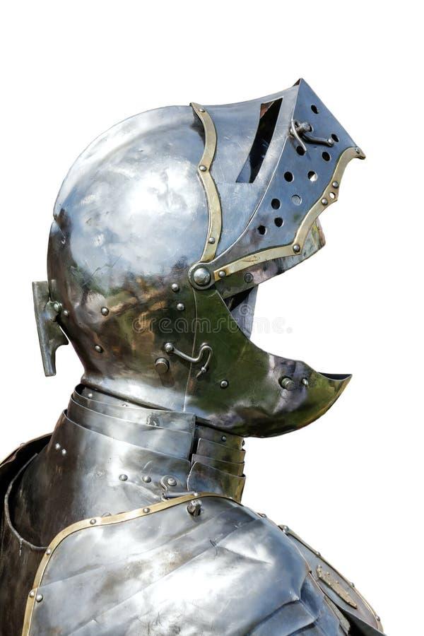 Zbroja średniowieczny rycerz odizolowywający na bielu fotografia royalty free