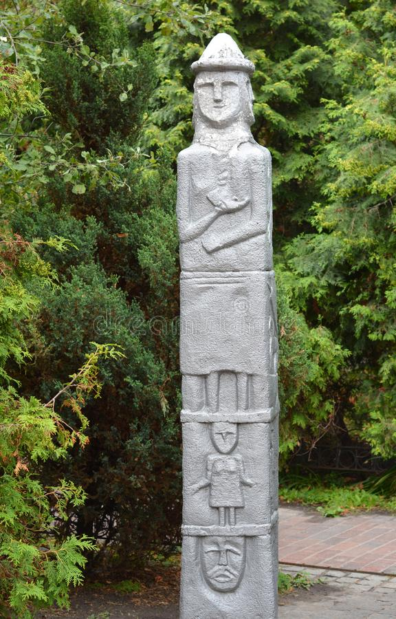 The Zbruch Idol, Sviatovid is a 9th-century sculpture, more precisely an example of a balwan, and one of the few monuments of pre-. Christian Slavic beliefs royalty free stock photo