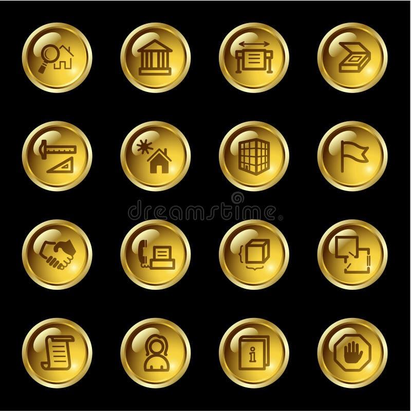 zbudować złote zrzutu ikony royalty ilustracja