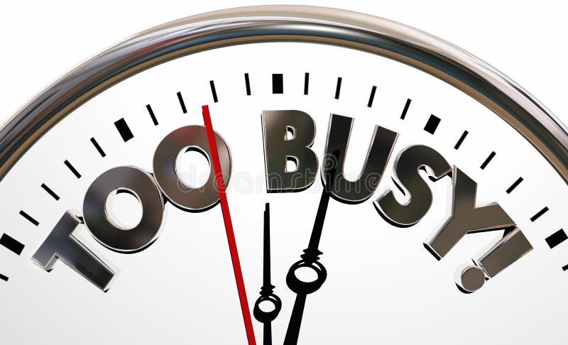 Zbyt Ruchliwie Zapracowani stresu czasu zegaru słowa ilustracji