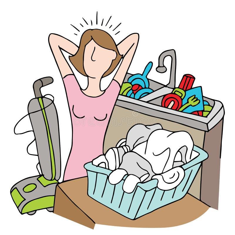 Zbyt Wiele obowiązek domowy kobieta ilustracji