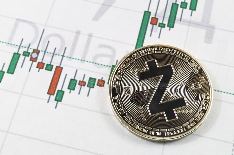 Zcash är en modern väg av utbytet och denna crypto valuta fotografering för bildbyråer