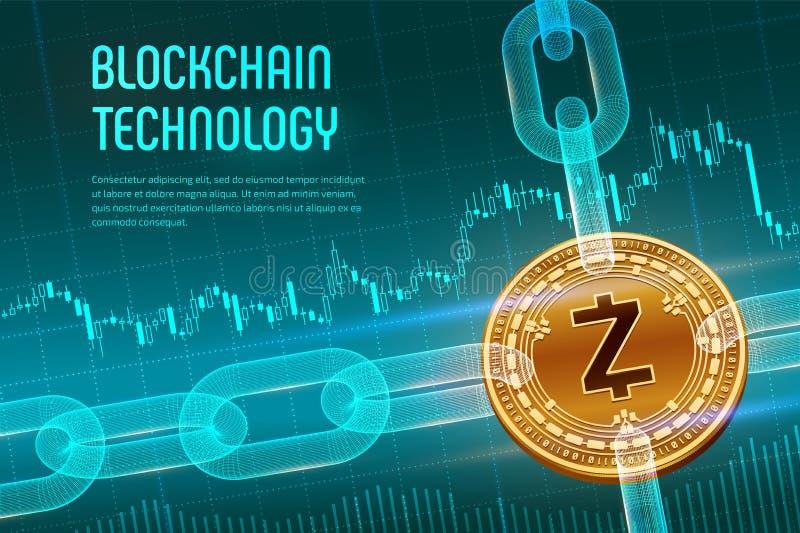 Zcash 隐藏货币 块式链 与wireframe链子的3D等量物理金黄Zcash硬币在蓝色财政背景 Bl 皇族释放例证