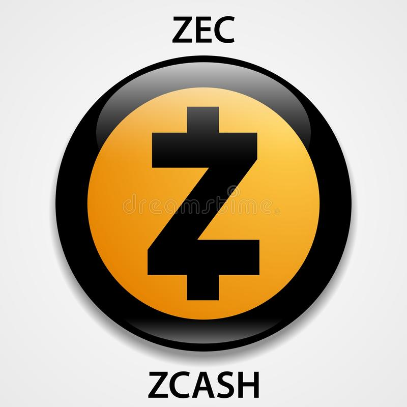 Zcash Coin cryptocurrency blockchain icon. Virtual electronic, internet money or cryptocoin symbol, logo.  royalty free illustration