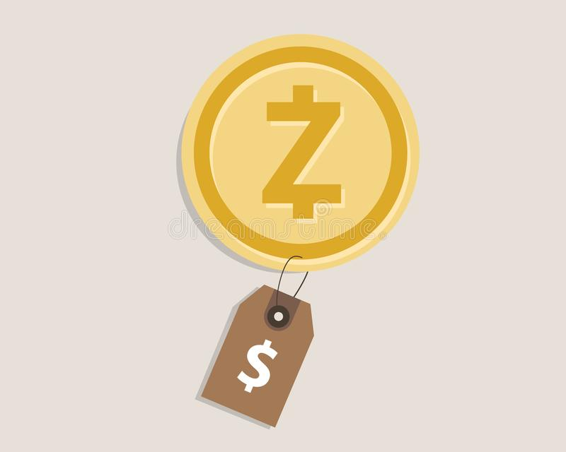 Zcash coin price value of crypto-currency in dollar price tag digital money block chain investment concept. Vector vector illustration