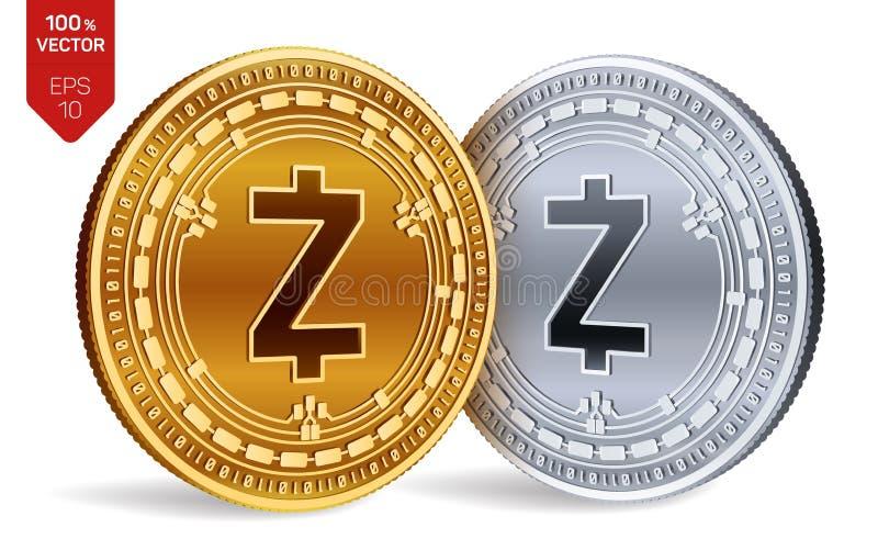 Zcash Crypto devise pièces de monnaie 3D physiques isométriques Devise de Digital Pièces d'or et en argent avec le symbole de Zca illustration stock