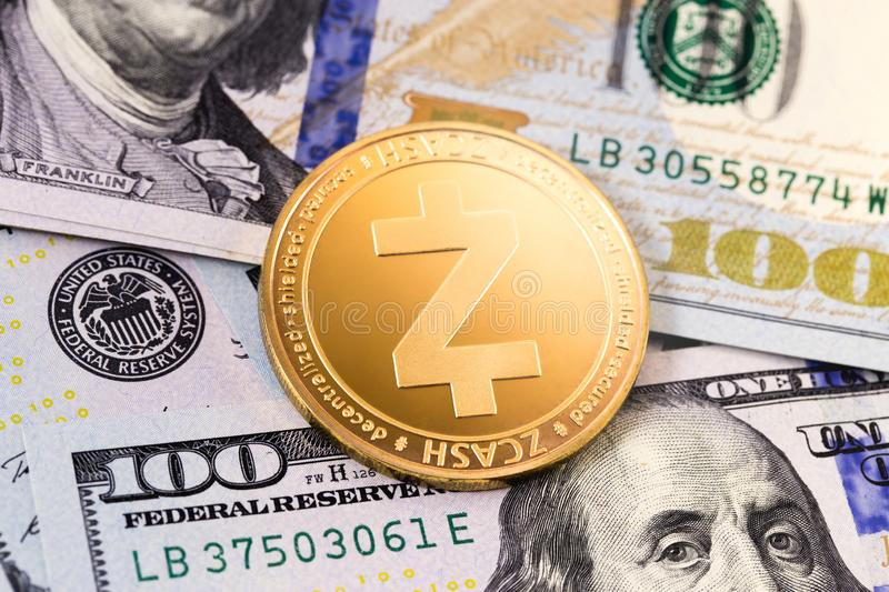 Zcash cryptocurrency and dollars. Symbol of zcash cryptocurrency and dollars stock image