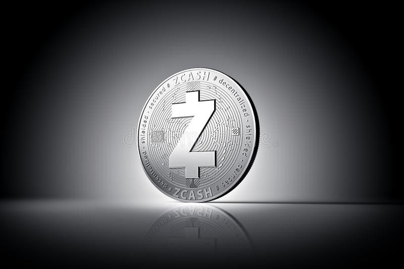 Zcash cryptocurrency physical concept coin on gently lit dark background. 3D rendering stock illustration