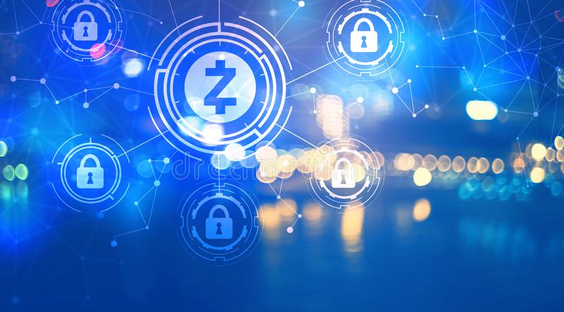 Zcash cryptocurrency security theme with city lights at night. Zcash cryptocurrency security themewith blurred city lights at night stock illustration