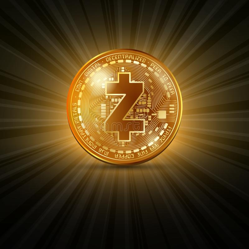 Zcash golden coin royalty free illustration