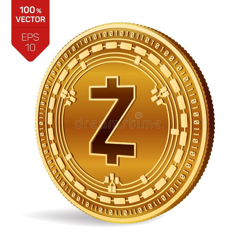 Zcash pièce de monnaie 3D physique isométrique Devise de Digital Cryptocurrency Pièce de monnaie d'or avec le symbole de Zcash d' illustration de vecteur