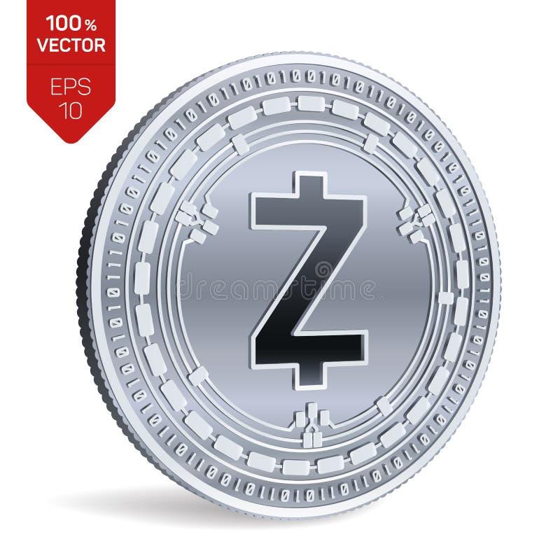 Zcash pièce de monnaie 3D physique isométrique Devise de Digital Cryptocurrency Pièce en argent avec le symbole de Zcash d'isolem illustration de vecteur