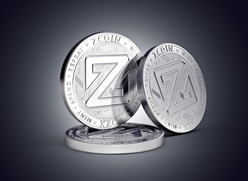 Zcoin cryptocurrency physical coin concept on gently lit dark background. 3D rendering royalty free illustration