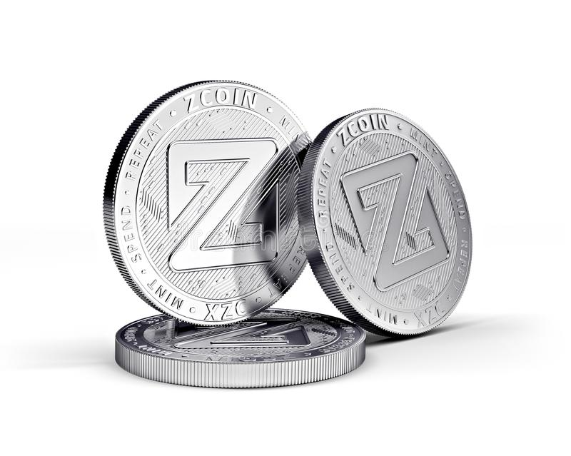 Zcoin cryptocurrency physical coin concept isolated on white background. 3D rendering vector illustration