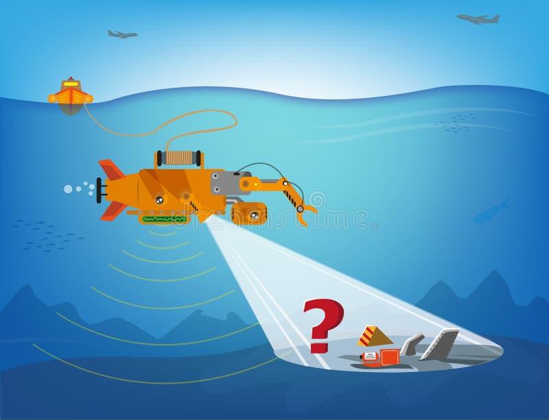 Zdalnie sterowany robota szukać podwodny dla gruzów samoloty, statki lub więcej, Editable klamerki sztuka ilustracji