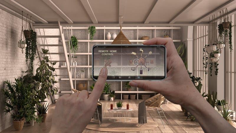 Zdalny system sterowania domem na cyfrowym tablecie inteligentnym Urządzenie z ikonami aplikacji Projektowanie wnętrz nowoczesneg obraz royalty free