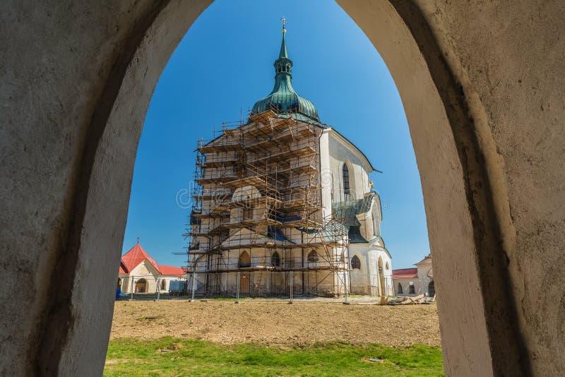 Pilgrimage Church of St John of Nepomuk at Zelena Hora. Zdar nad Sazavou, Czech Republic - April 19 2019: Pilgrimage Church of St John of Nepomuk at Zelena Hora royalty free stock image