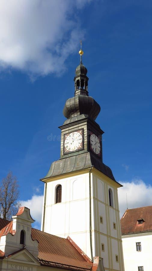 Zdar y Sazavou, campanario del castillo de la República Checa imágenes de archivo libres de regalías