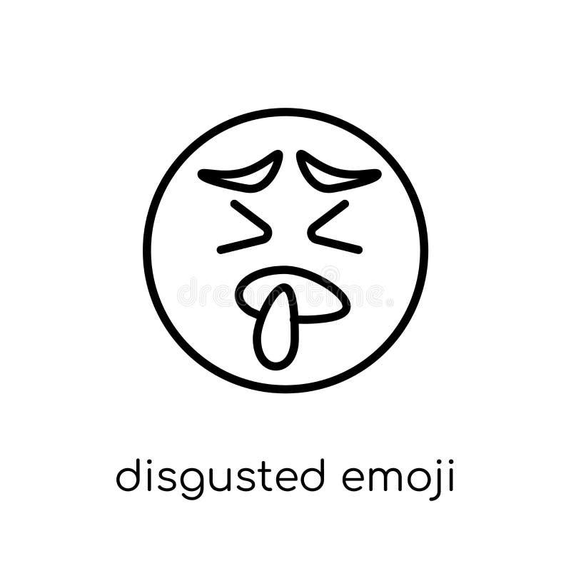 Zdegustowana emoji ikona Modny nowożytny płaski liniowy wektor obrzydzający royalty ilustracja