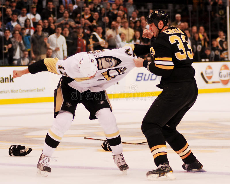 Zdeno Chara fights Mike Rupp stock image