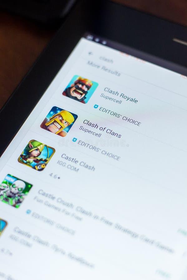 Zderzenie klan ikona w liście mobilni apps Ryazan Rosja, Marzec - 21, 2018 - obraz stock