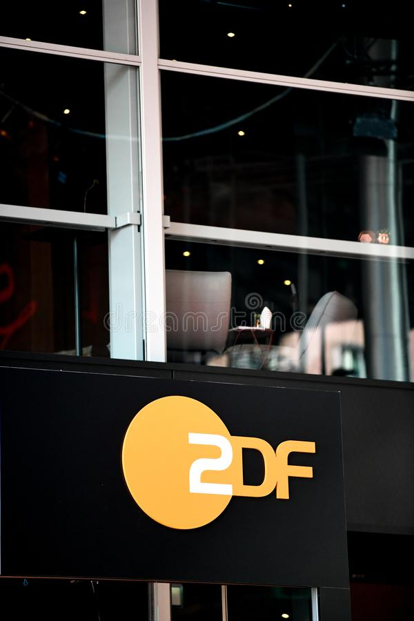 ZDF emblem. Berlin, Germany - February 15, 2018: ZDF symbol. Zweites Deutsches Fernsehen English: Second German Television, usually shortened to ZDF, is a German royalty free stock photography