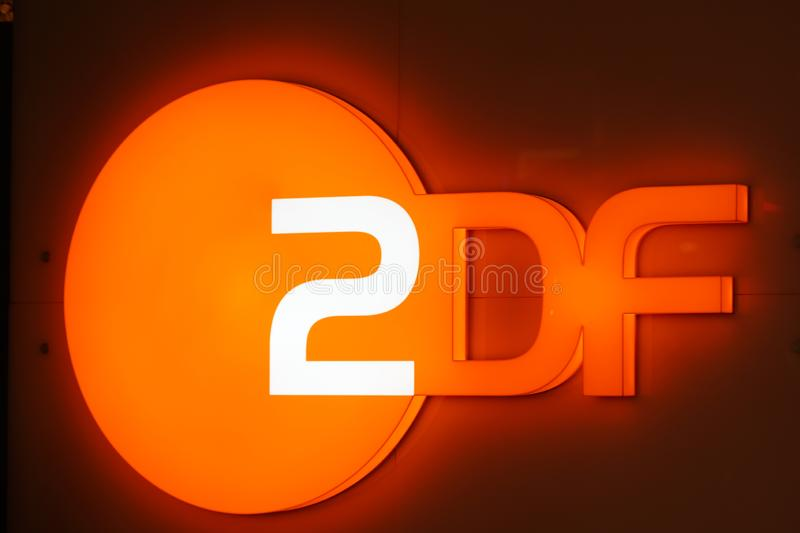 ZDF sign. Berlin, Germany - February 14, 2017: ZDF signboard. Zweites Deutsches Fernsehen English: Second German Television, usually shortened to ZDF, is a royalty free stock photos