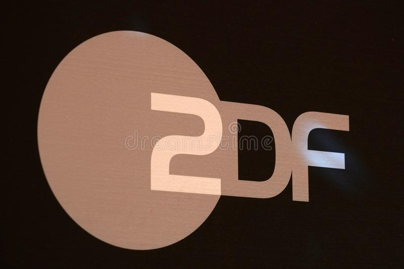ZDF sign. Berlin, Germany - February 14, 2017: ZDF signboard. Zweites Deutsches Fernsehen English: Second German Television, usually shortened to ZDF, is a stock photos