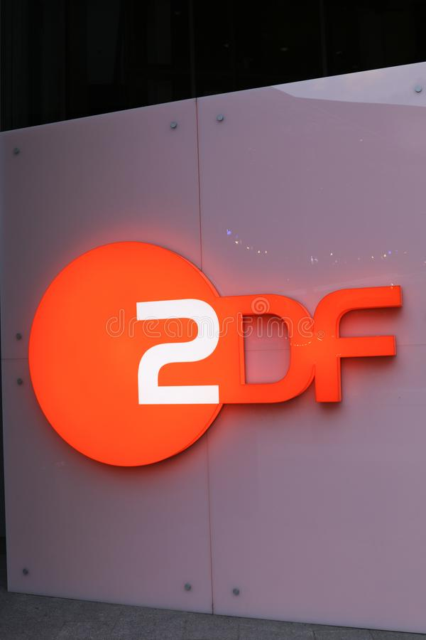ZDF signage. Berlin, Germany - February 22, 2018: ZDF signboard. Zweites Deutsches Fernsehen English: Second German Television, usually shortened to ZDF, is a stock photo