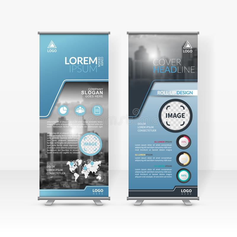 Business roll up design template, X-stand, Vertical flag-banner design layout, standee display promoting royalty free illustration