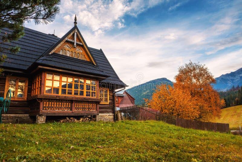 Historic home in the village of Zdiar in High Tatra Mountains. ZDIAR, SLOVAKIA - OCTOBER 18, 2017 : Historic home in the village of Zdiar situated in the stock photos