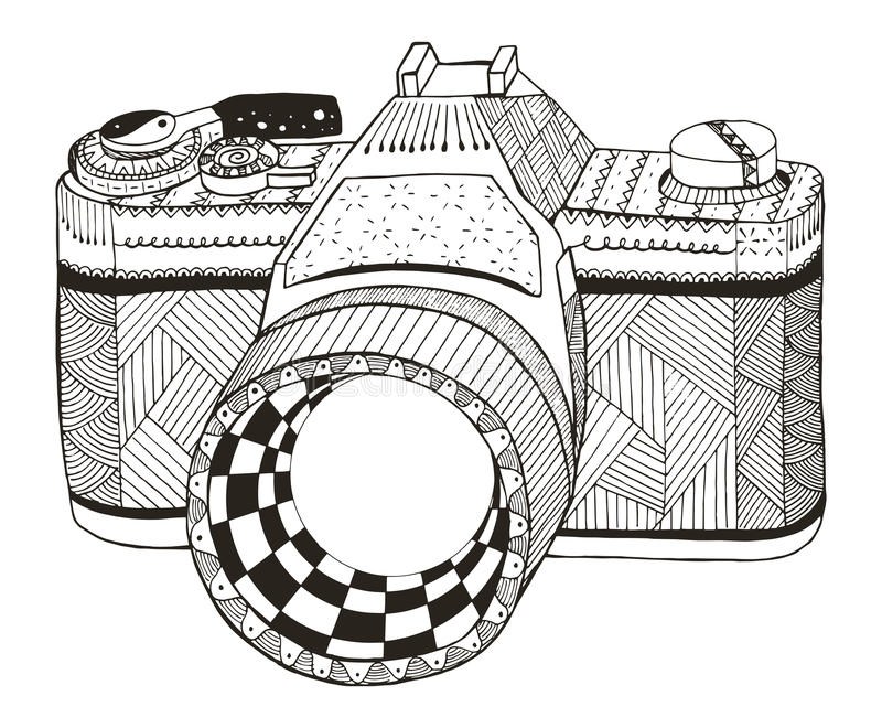 zdjęcie kamery światła Zentangle stylizował aparaty fotograficzne slr roczne freehand ilustracji