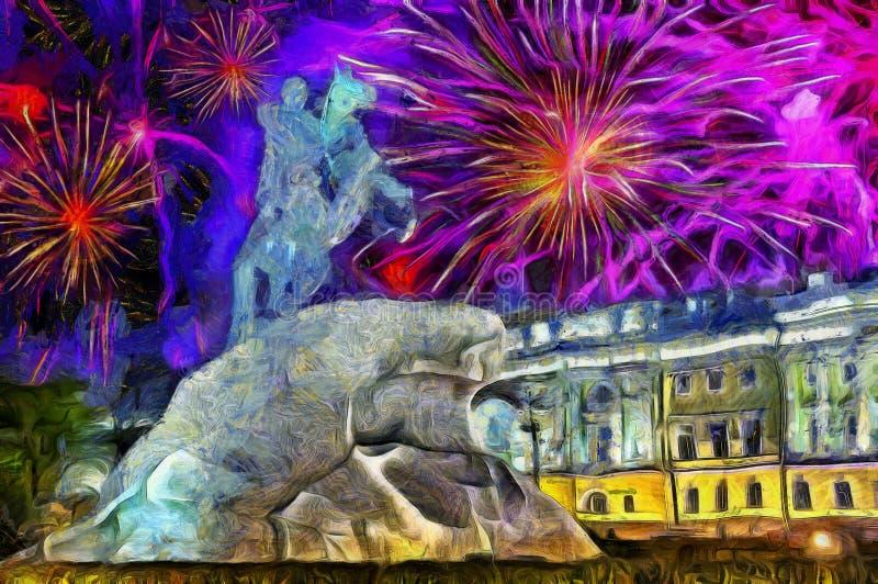 Zdjęcie - noworoczne fajerwerki nad Brązowym Jeźdźcem, pomnik do cara Piotra 1, w Petersburgu, Rosja, media mieszane ilustracja wektor