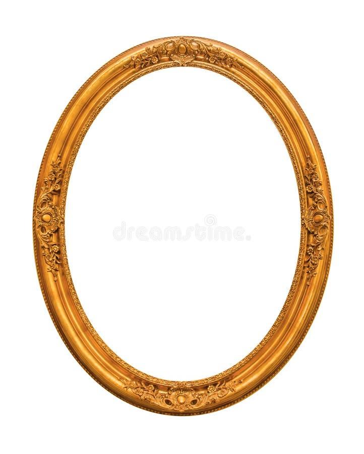 Zdobny złoto matrycował pustą obrazek ramę Odizolowywającą na bielu fotografia royalty free