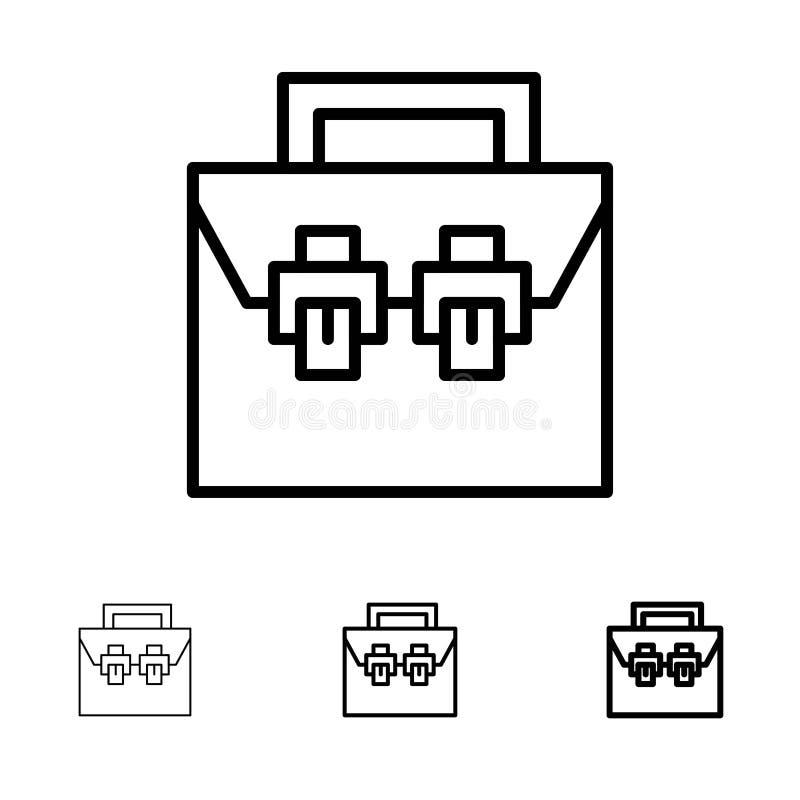 Zdojest, Boksuje, budowy, materiału, Toolkit czerni linii ikony set, Śmiały i cienki royalty ilustracja